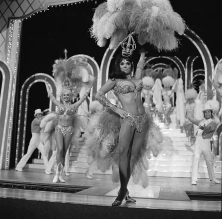 In this photo provided by the Las Vegas News Bureau, in this May 24, 1972 file photo, Les Folies Bergere showgirls perform on stage at the Tropicana Las Vegas, After a 49-year run on the Las Vegas Strip, the Les Folies Bergere topless revue is closing March 28. Thursday, January 15, 2009. (AP Photo/Las Vegas News Bureau)