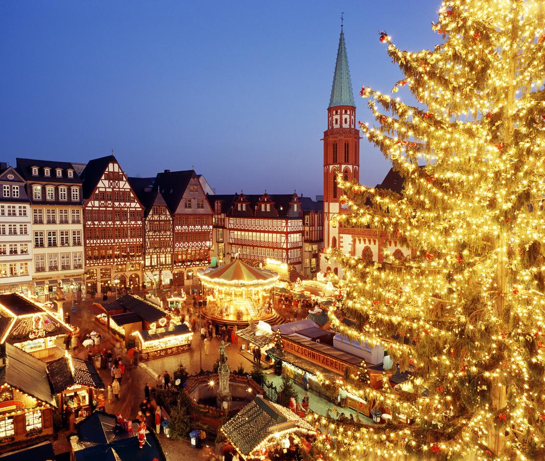 illuminated elevated view of Christmas Market