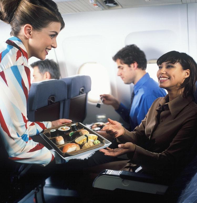 αεροσυνοδός δίσκος φαγητό αεροπλάνου