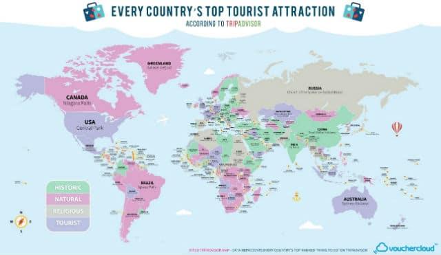 Χάρτης με τα πιο δημοφιλή αξιοθέατα του κόσμου