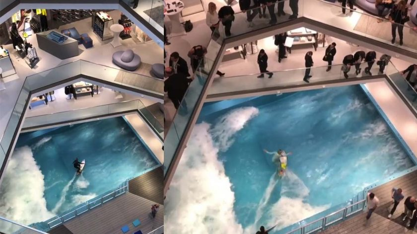 Κάνουν σερφ και δαμάζουν τα κύματα μέσα σε ένα εμπορικό κέντρο! (video)