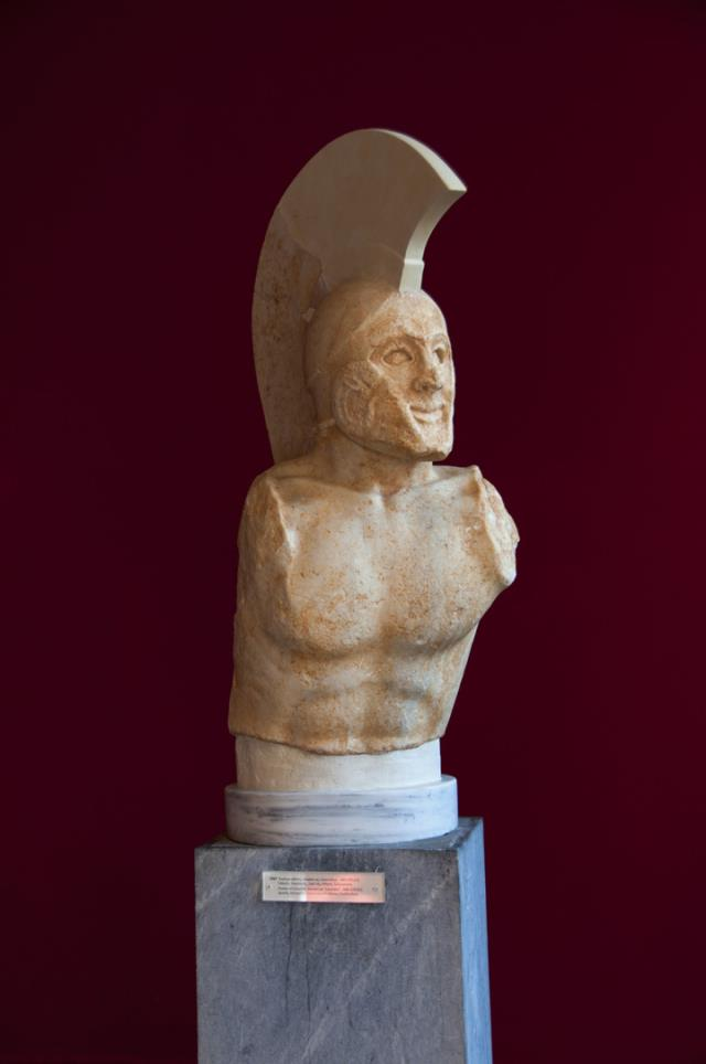 Προτομή Λεωνίδα στο Αρχαιολογικό Μουσείο Σπάρτης