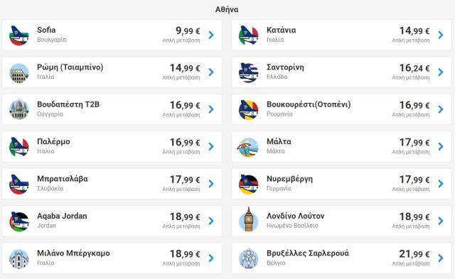 Πίνακας προσφορών Ryanair 02-09-2019 - Αθήνα 1