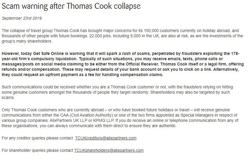 thomas cook ανακοίνωση