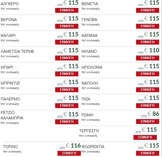 Alitalia προσφορά Ιανουάριος 2020