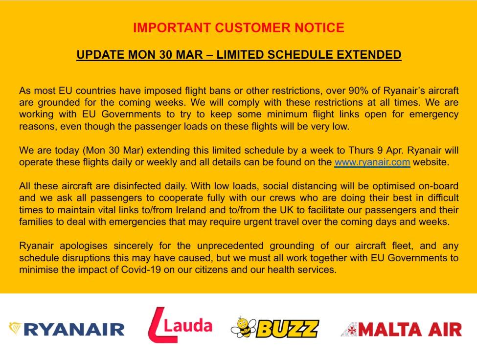 Ανακοίνωση Ryanair 30/03/2020