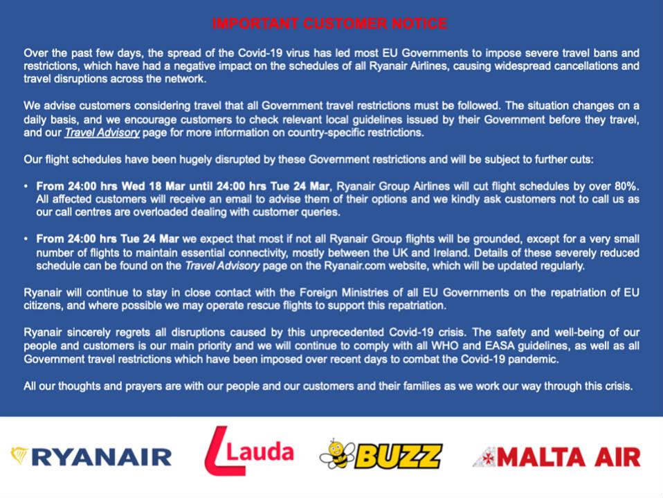 Αναστολή πτήσεων Ryanair λόγω κορονοϊού