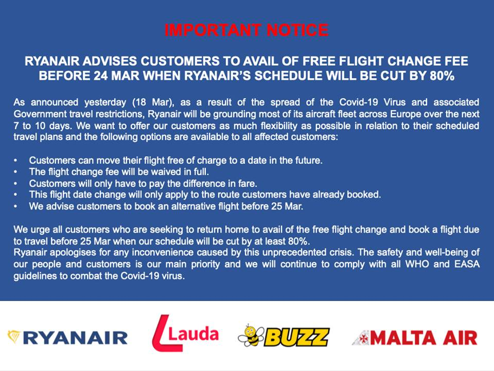 Ryanair Έκτακτη ανακοίνωση 19/03/20