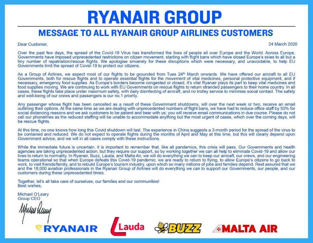 Ryanair μήνυμα για κορονοϊό