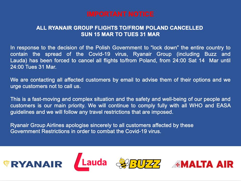 Ακύρωση πτήσεων Ryanair: Κύπρος και Πολωνία