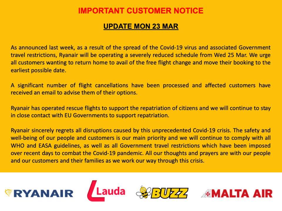 Ryanair: Έκτακτη ανακοίνωση για το τέλος των πτήσεων (23/03/20)