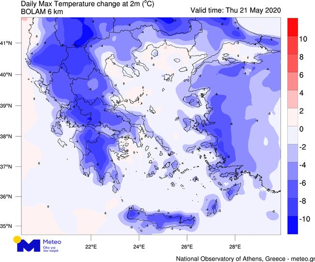 Η πτώση της θερμοκρασίας σε όλη τη χώρα όπως φαίνεται στο χάρτη