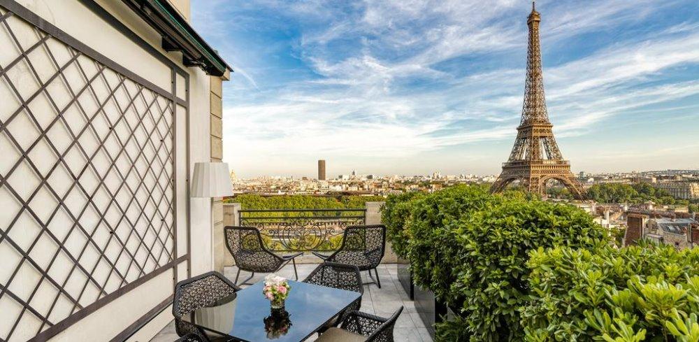 Η θέα στον Πύργο του Άιφελ από το Shangri La Hotel στο Παρίσι