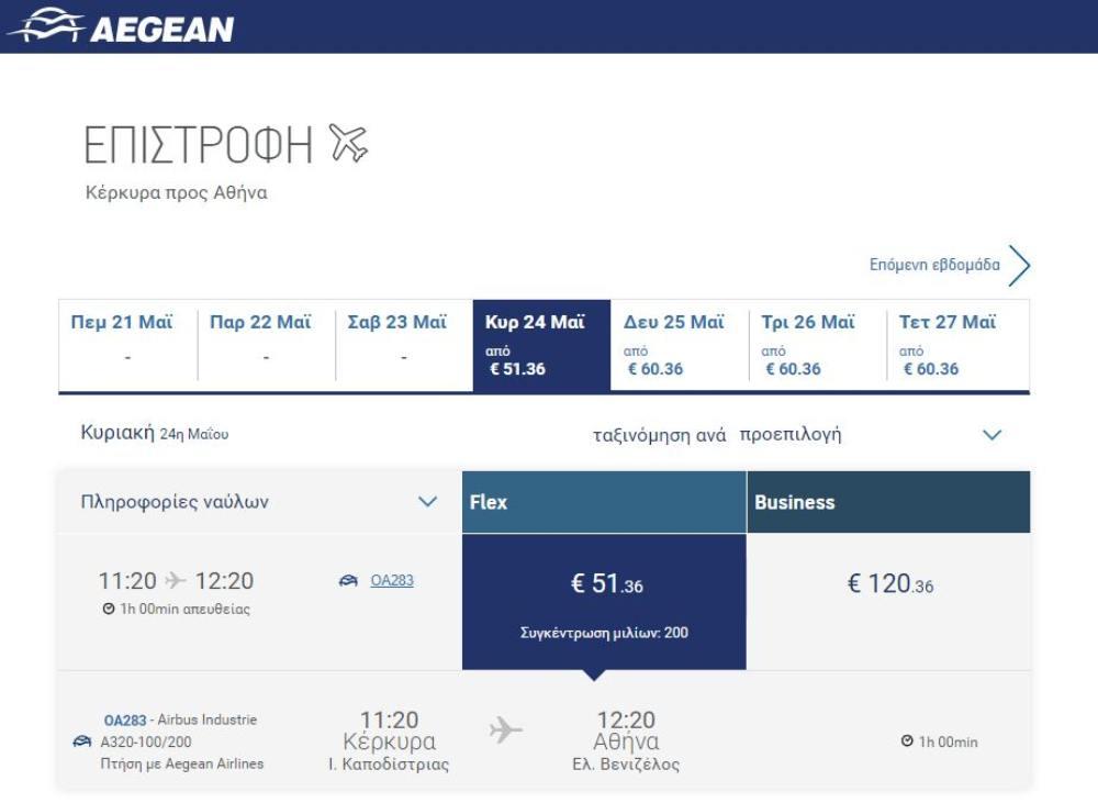 Κέρκυρα - Αθήνα τιμή εισιτηρίου επιστροφής με Aegean