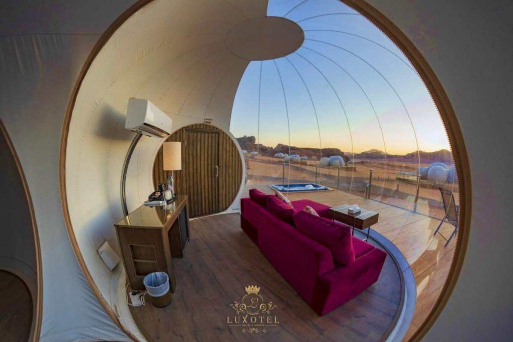 Bubble Luxotel, θέα από μέσα