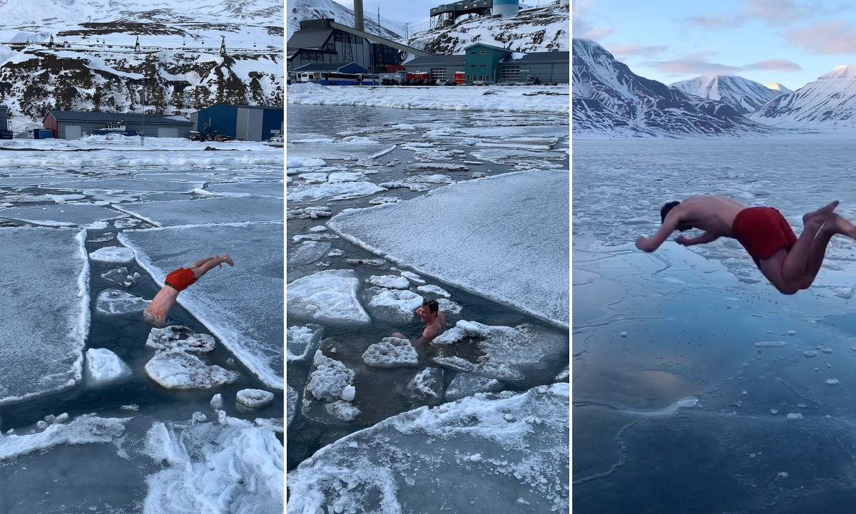 Τολμηρός Νορβηγός βουτά στα παγωμένα νερά της Αρκτικής