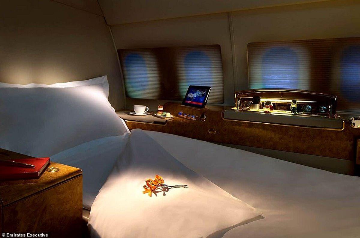 κρεβάτι στο ιδιωτικό τζετ