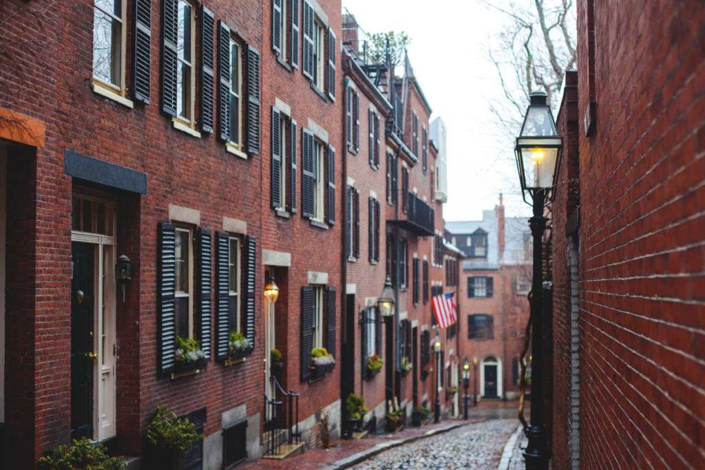 Acorn Street, Boston, Massachusetts, USA