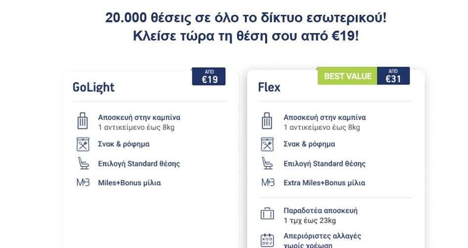 Aegean προσφορά 20.000 εισιτήρια