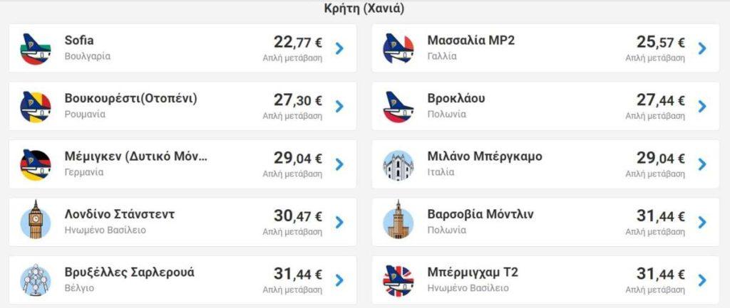 Ryanair προσφορά χανιά