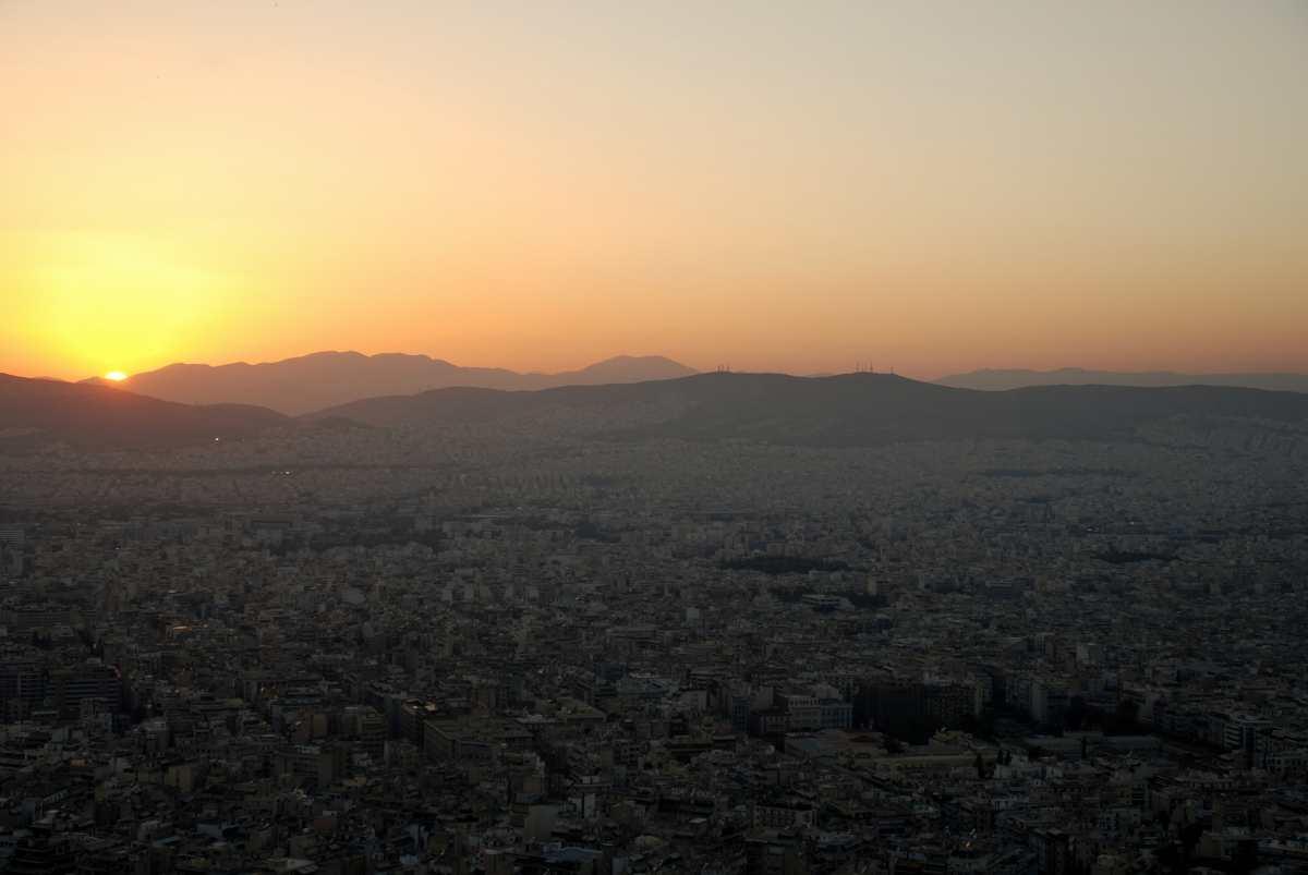 Ηλιοβασίλεμα, Αθήνα