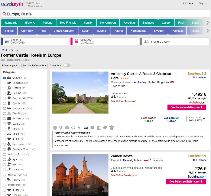 travelmyth αναζητηση καστρο