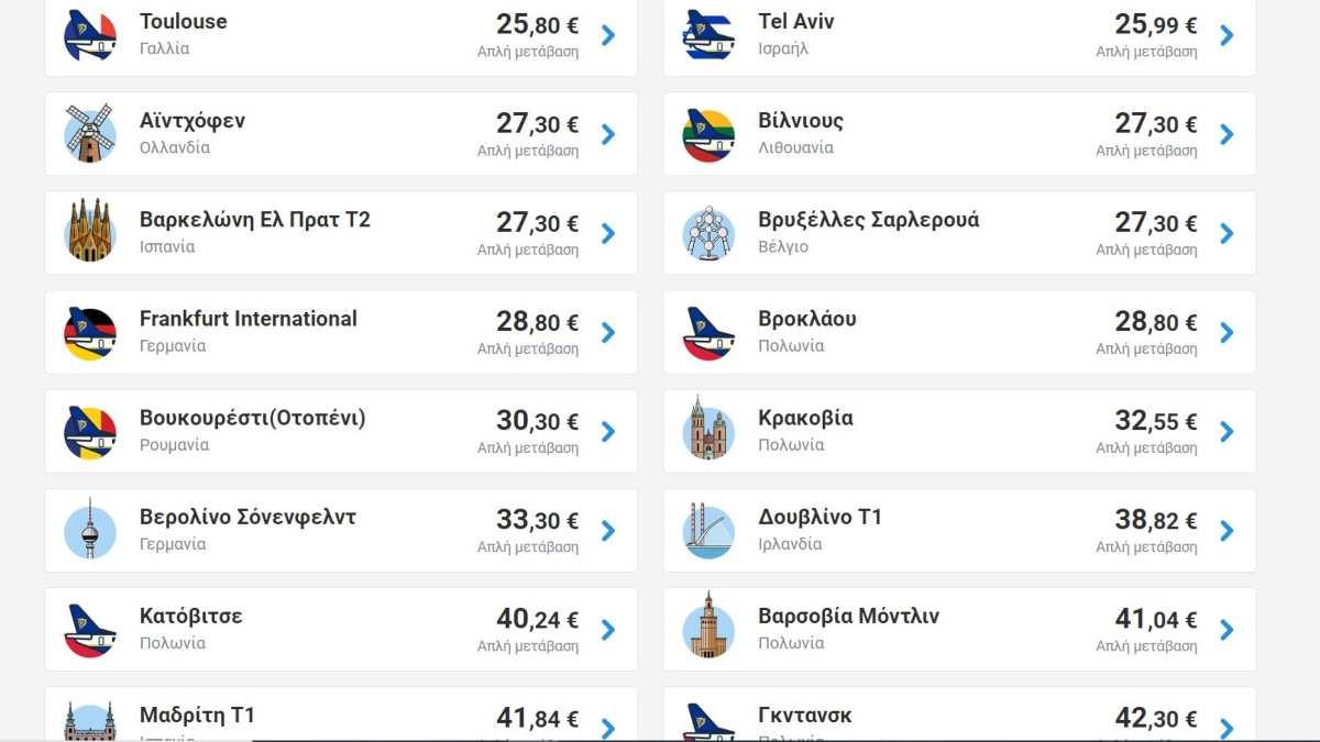 Ryanair προσφορά από Αθήνα-εξωτερικό