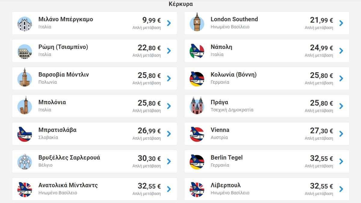 Ryanair προσφορά από Κέρκυρα