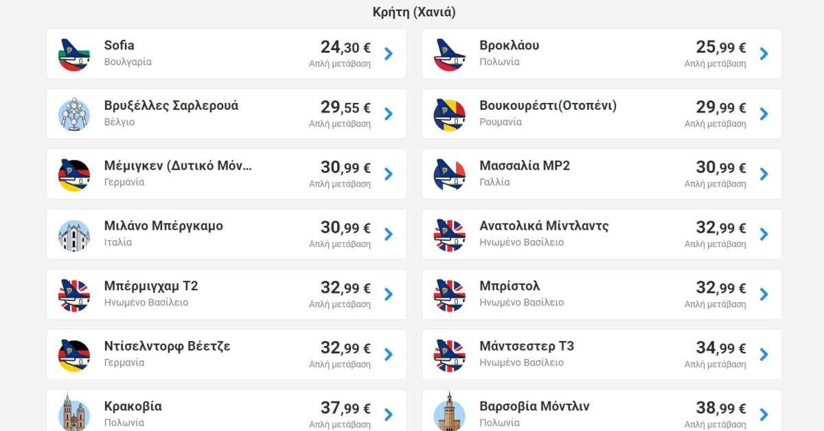 Ryanair προσφορά Κρήτη