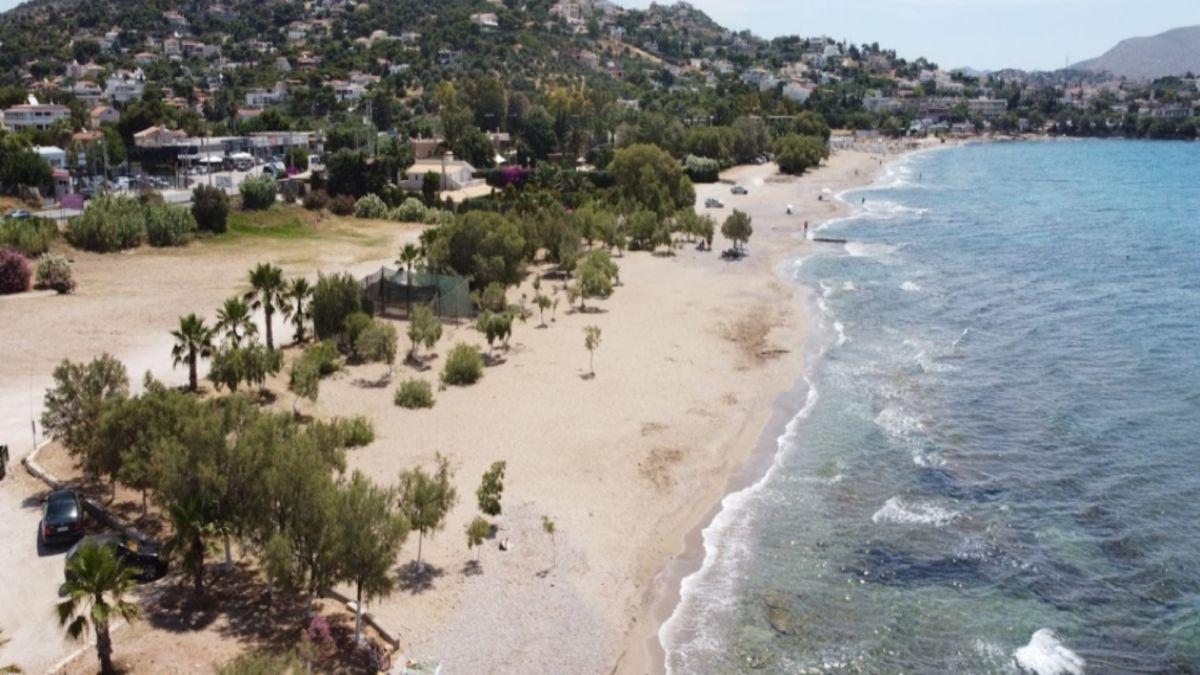 η Παραλία Άγιος Δημήτριος  με φυσική σκια