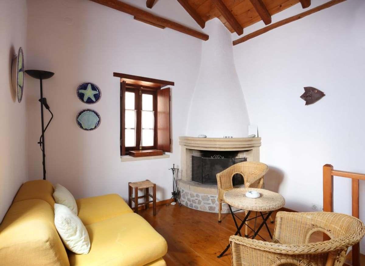 Casa Palma καθιστικό με τζάκι