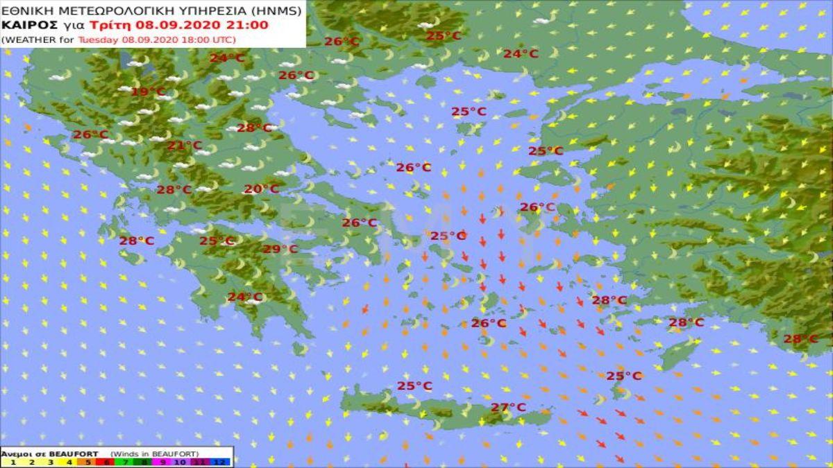 Χάρτης θερμοκρασιών από την ΕΜΥ