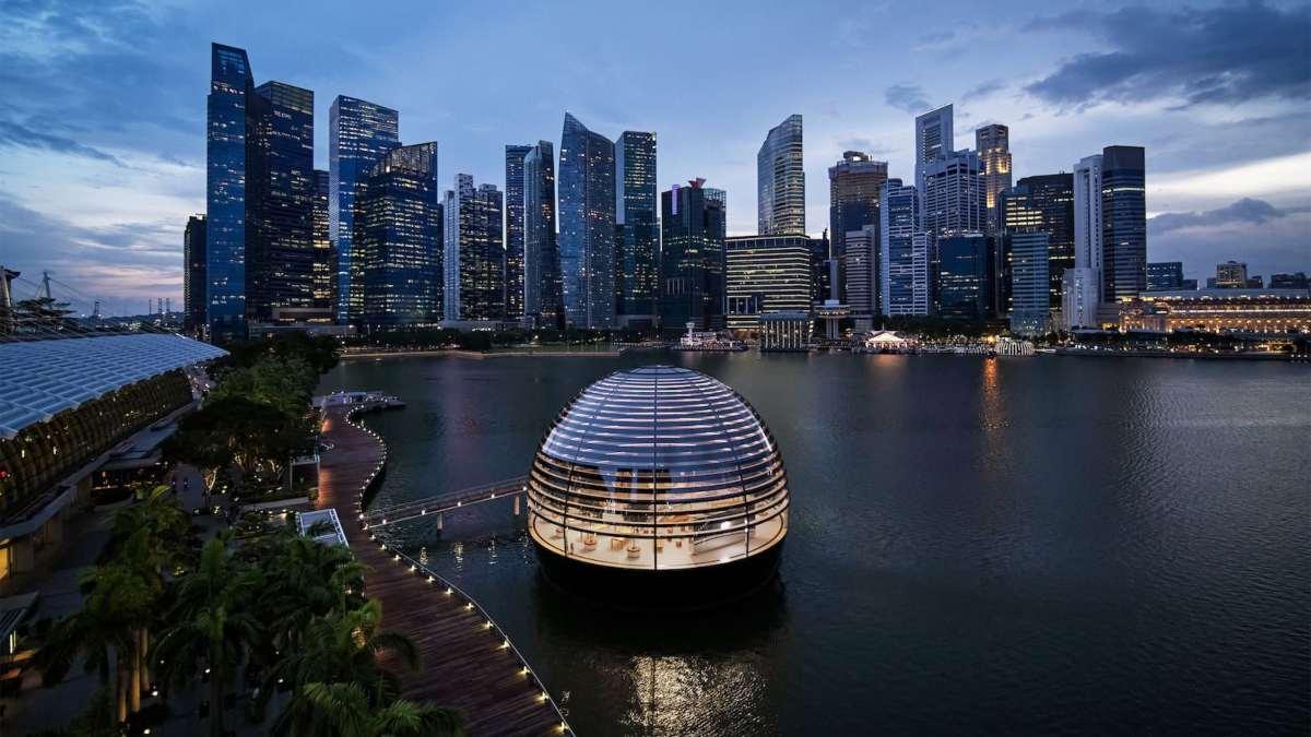 κατάστημα Apple Marina Bay Sands σιγκαπούρη νυχτερινή