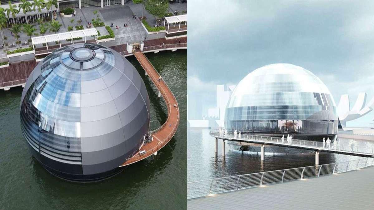 κατάστημα Apple Marina Bay Sands σιγκαπούρη αιωρείται στο νερό