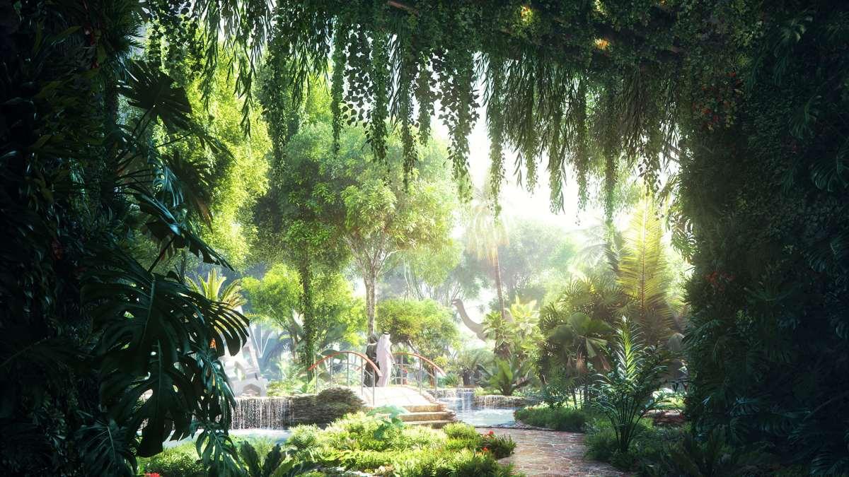 5άστερο ξενοδοχείο Rosemont Hotel & Residences Ντουμπάι τροπικό δάσος γεφυρούλα