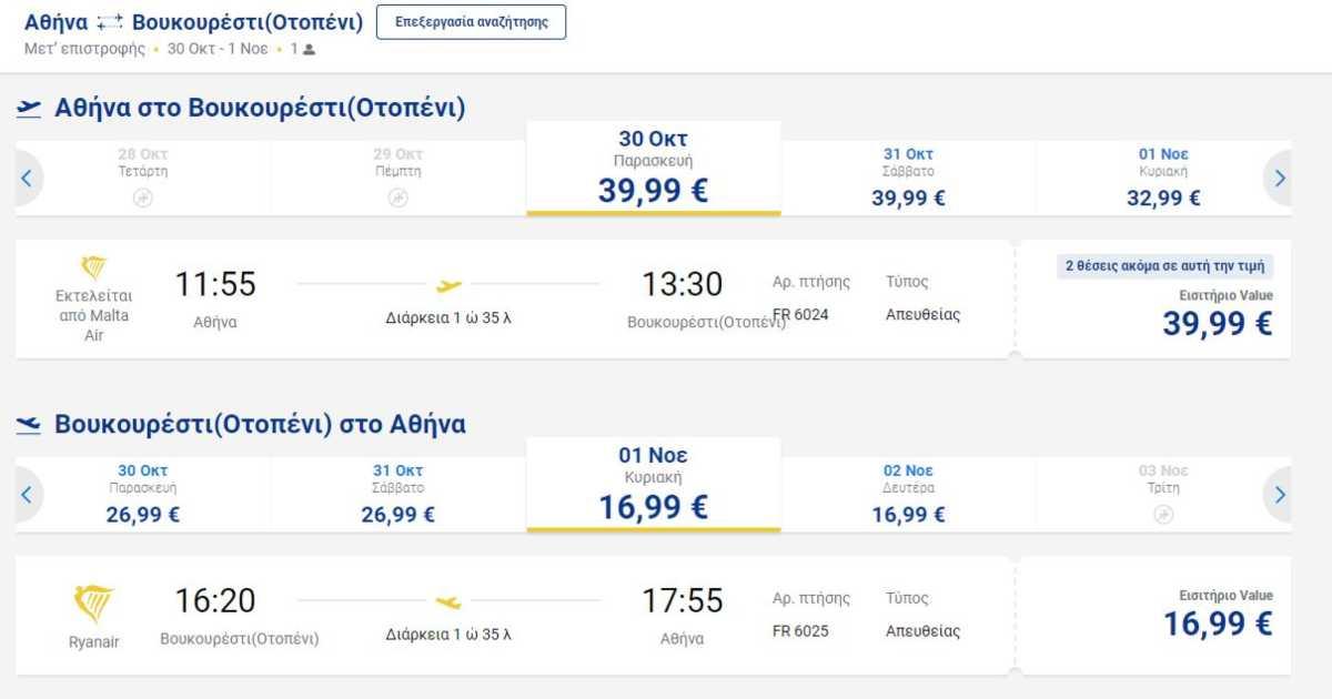 Πτήση Αθήνα Βουκουρέστι, Ryanair