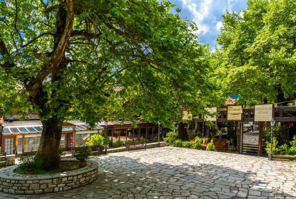 Ελάτη, στην πλατεία του χωριού