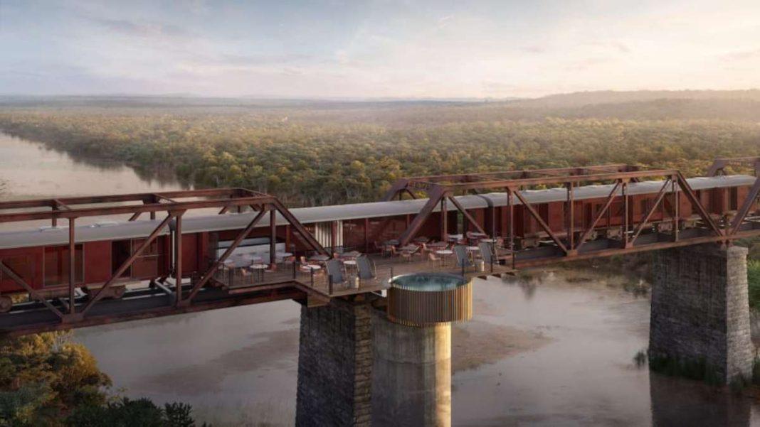 the train on the bridge deck και πισίνα