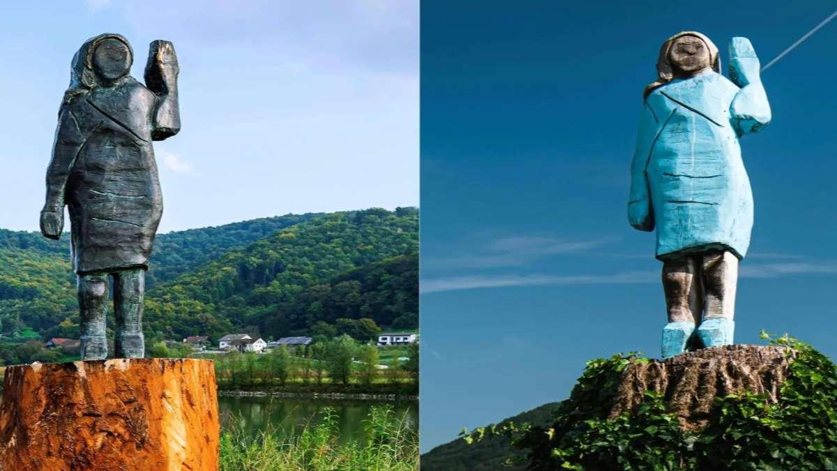 άγαλμα Μελάνια Τραμπ Σλοβενία πριν και μετά