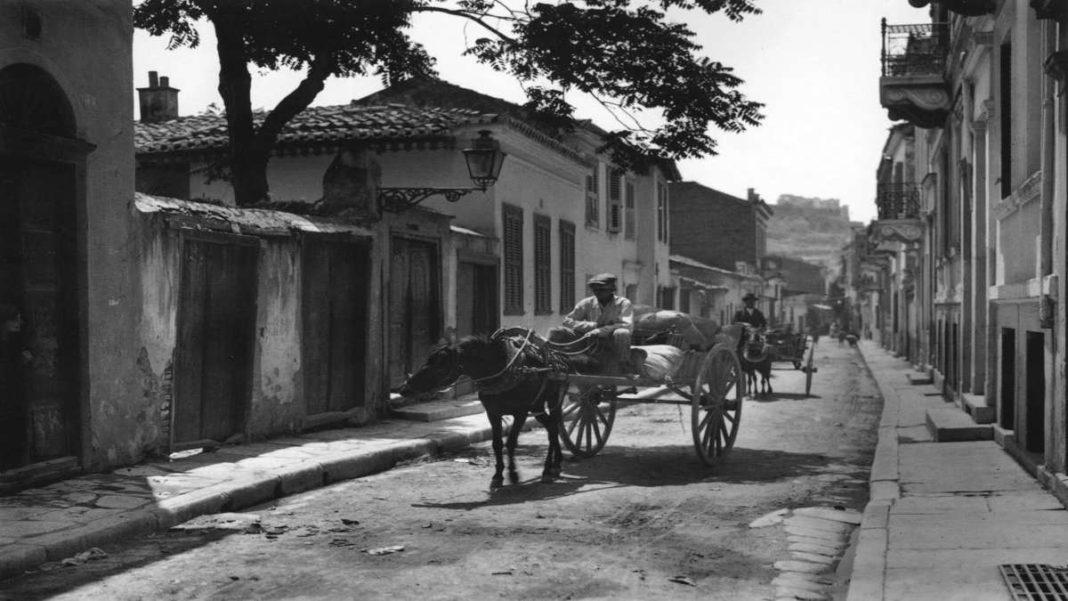 Πλάκα 1920 άμαξα παλιά αθήνα