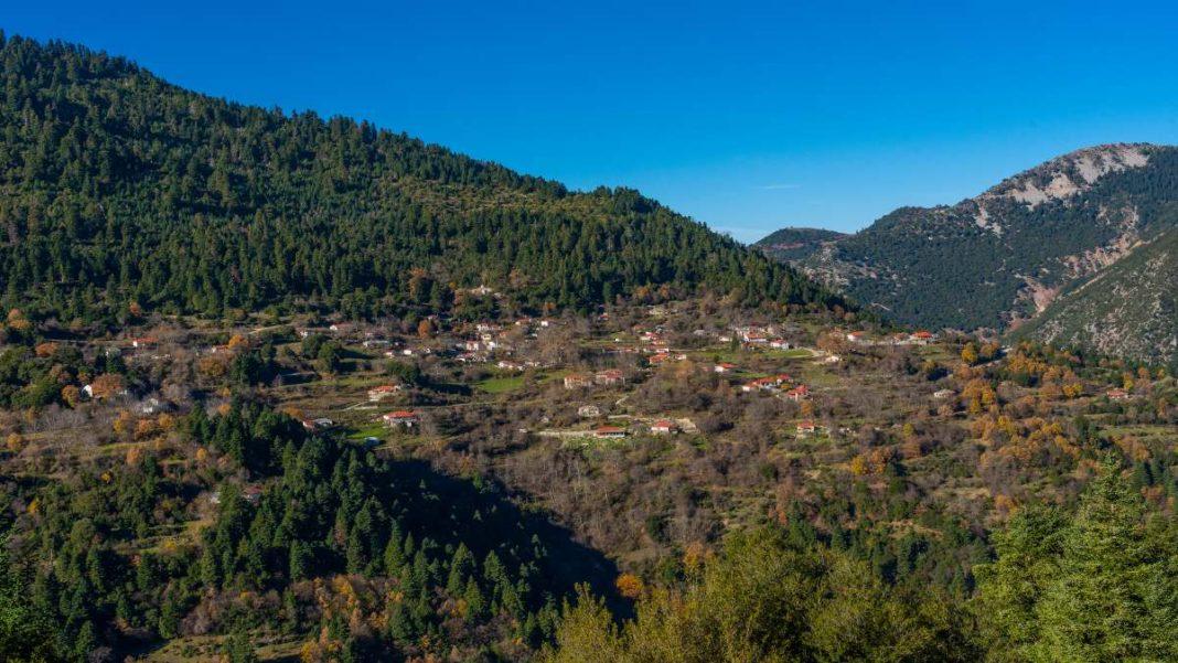 Λεοντίτο χωριό Αργιθέας μέσα στα έλατα πανοραμική