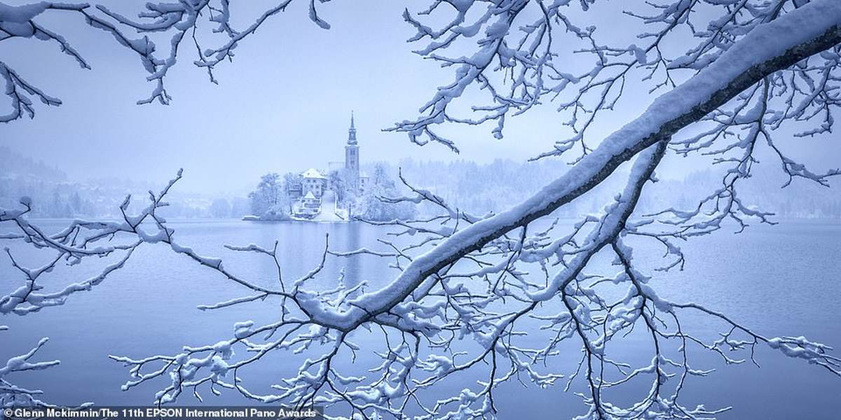Σλοβενία λίμνη Μπλεντ χιονισμένη