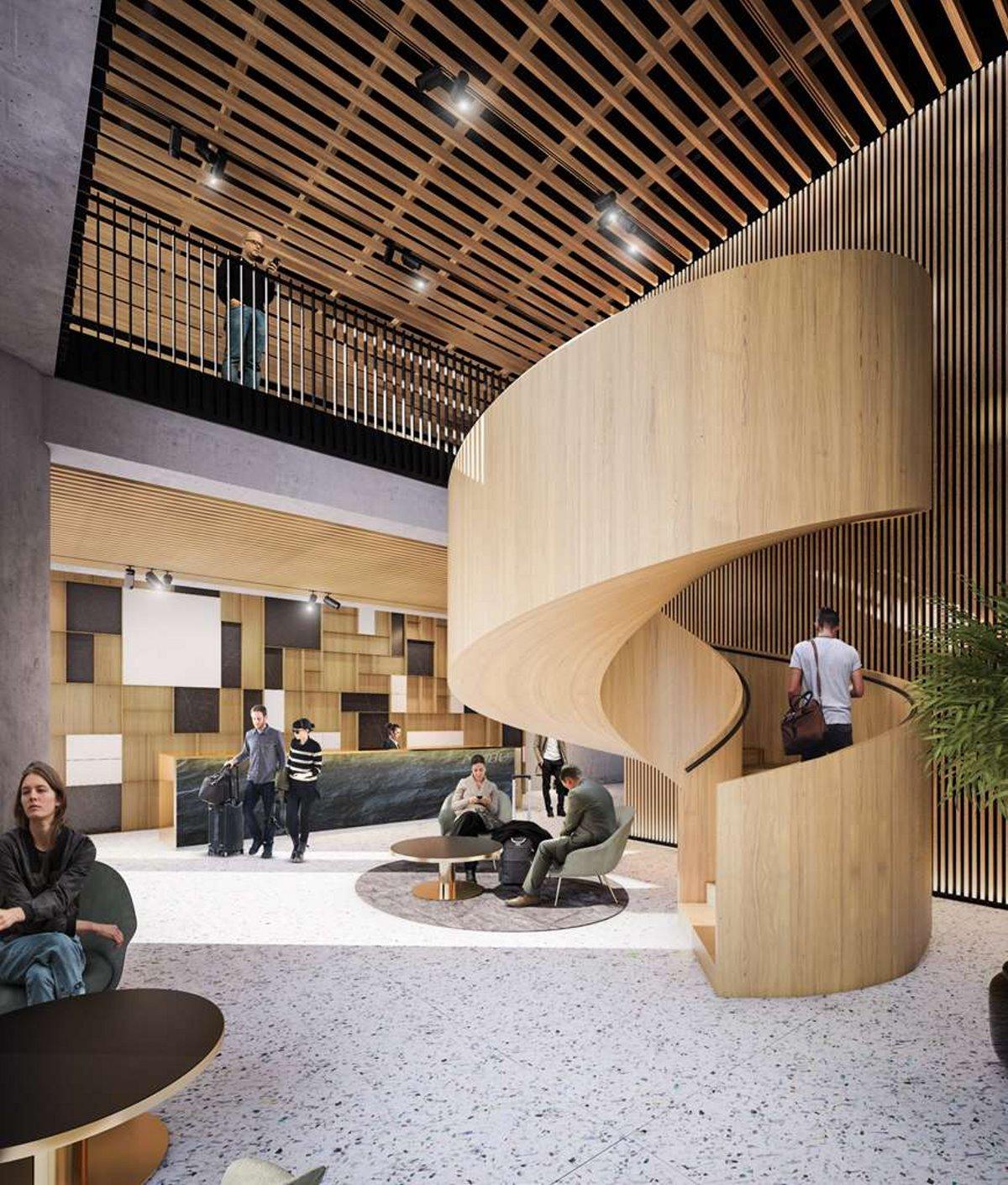 Nobu luxury ξενοδοχείο στη Βαρσοβία του De Niro lobby σκάλα