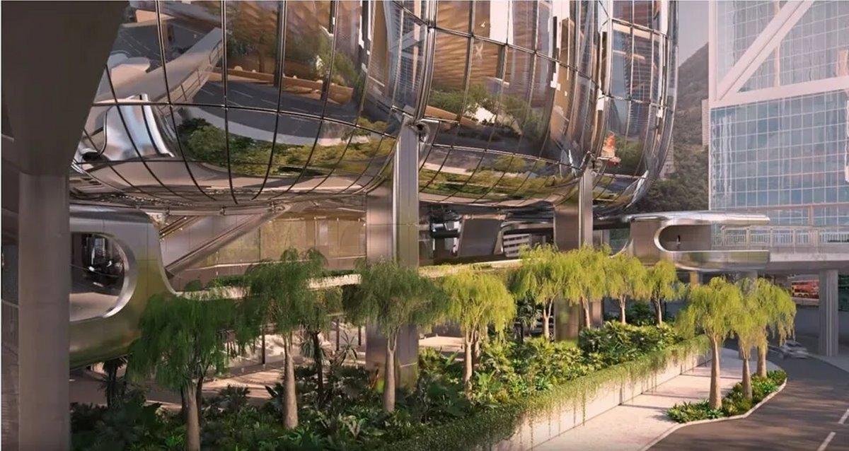 Ουρανοξύστης ορχιδέα Χονγκ Κονγκ είσοδος με κήπους