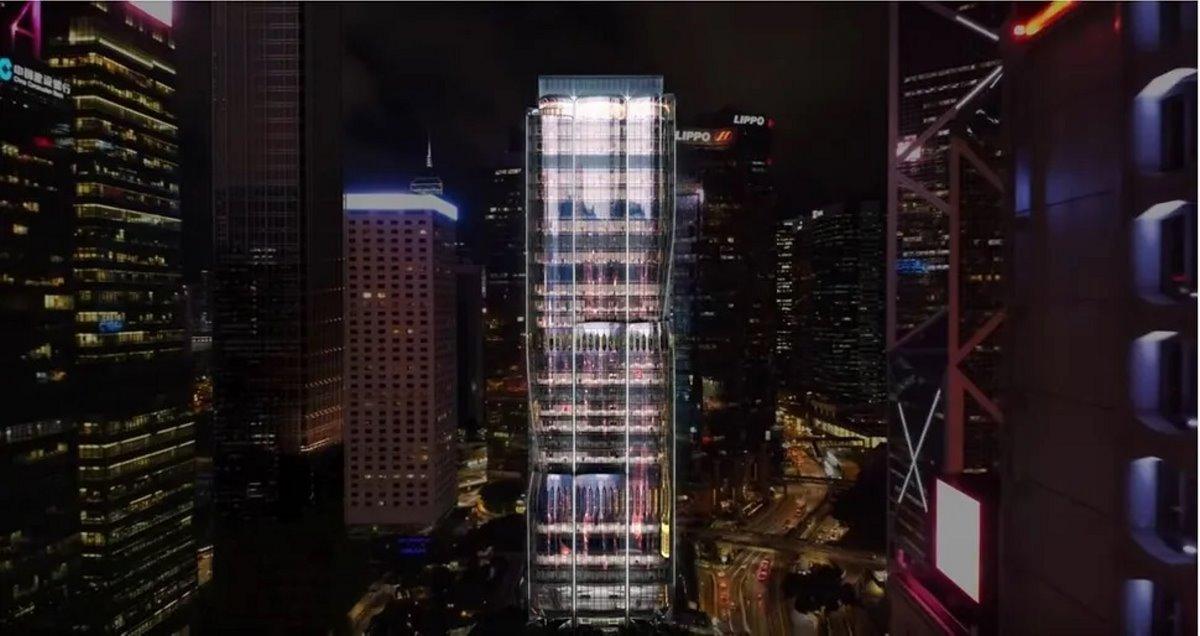 Ουρανοξύστης ορχιδέα Χονγκ Κονγκ πανοραμική τη νύχτα