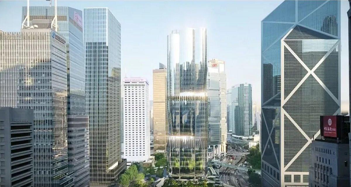 Ουρανοξύστης ορχιδέα Χονγκ Κονγκ πανοραμική το πρωί
