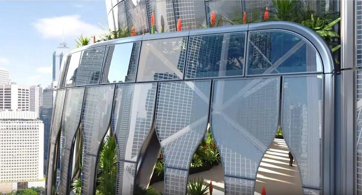 Ουρανοξύστης ορχιδέα Χονγκ Κονγκ είσοδος με γυάλινα παράθυρα
