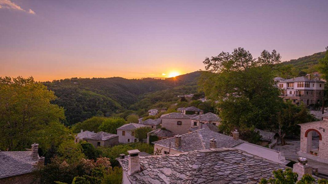 Πινακάτες χωριό Πήλιο ηλιοβασίλεμα