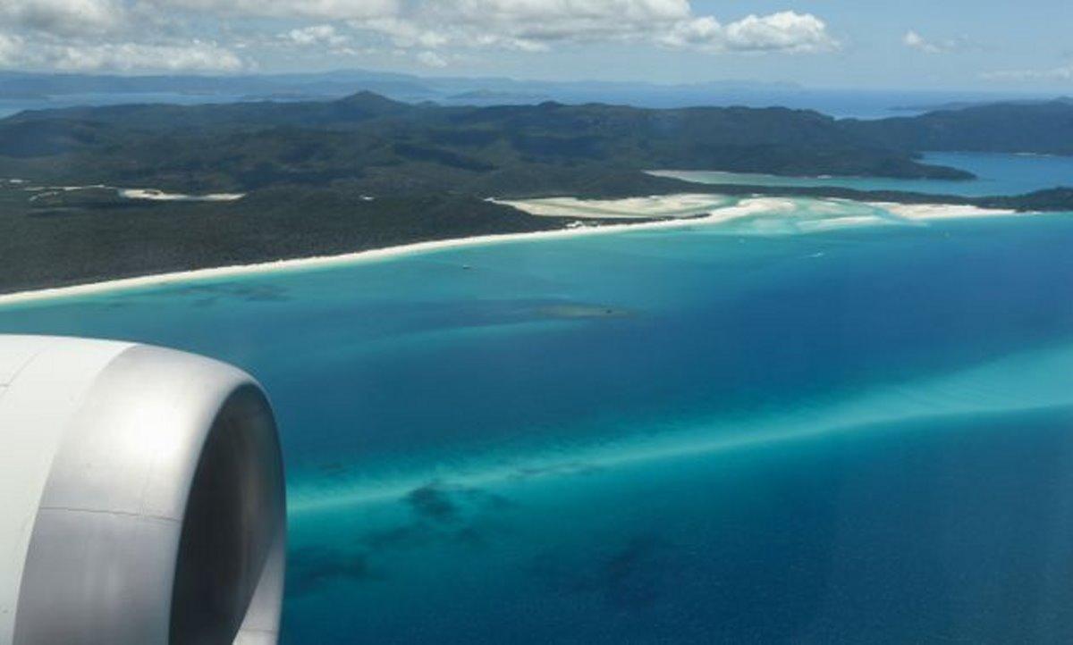 Qantas πτήση στο πουθενά υπέροχη θέα στη θάλασσα