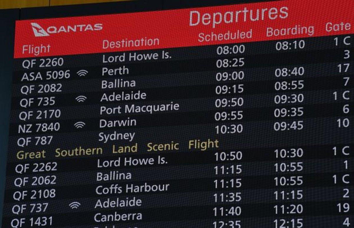 Qantas πτήση στο πουθενά πίνακας ανακοινώσεων
